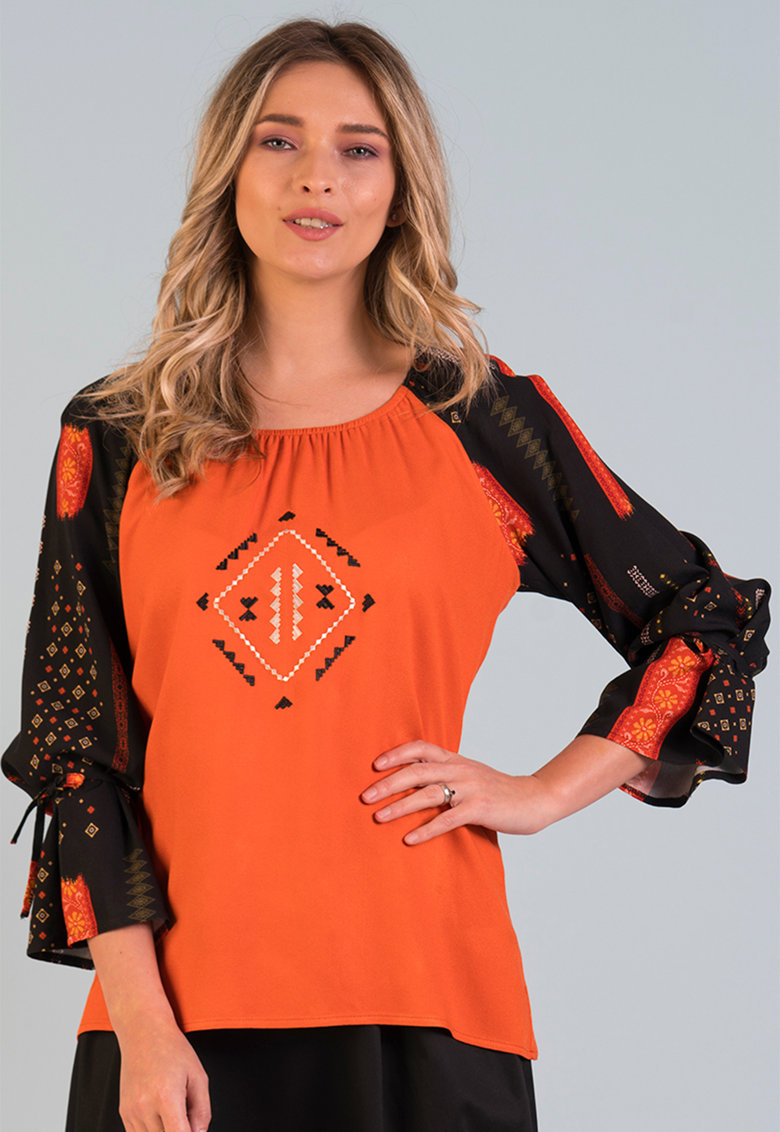 Bluza cu model traditional si maneci 3/4 Format Lady fashiondays.ro
