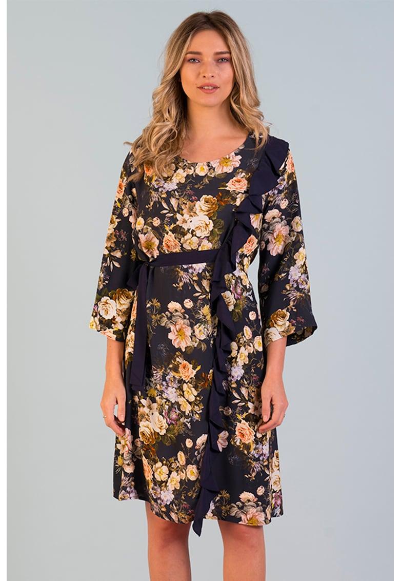 Rochie cu model floral si volane Format-Lady