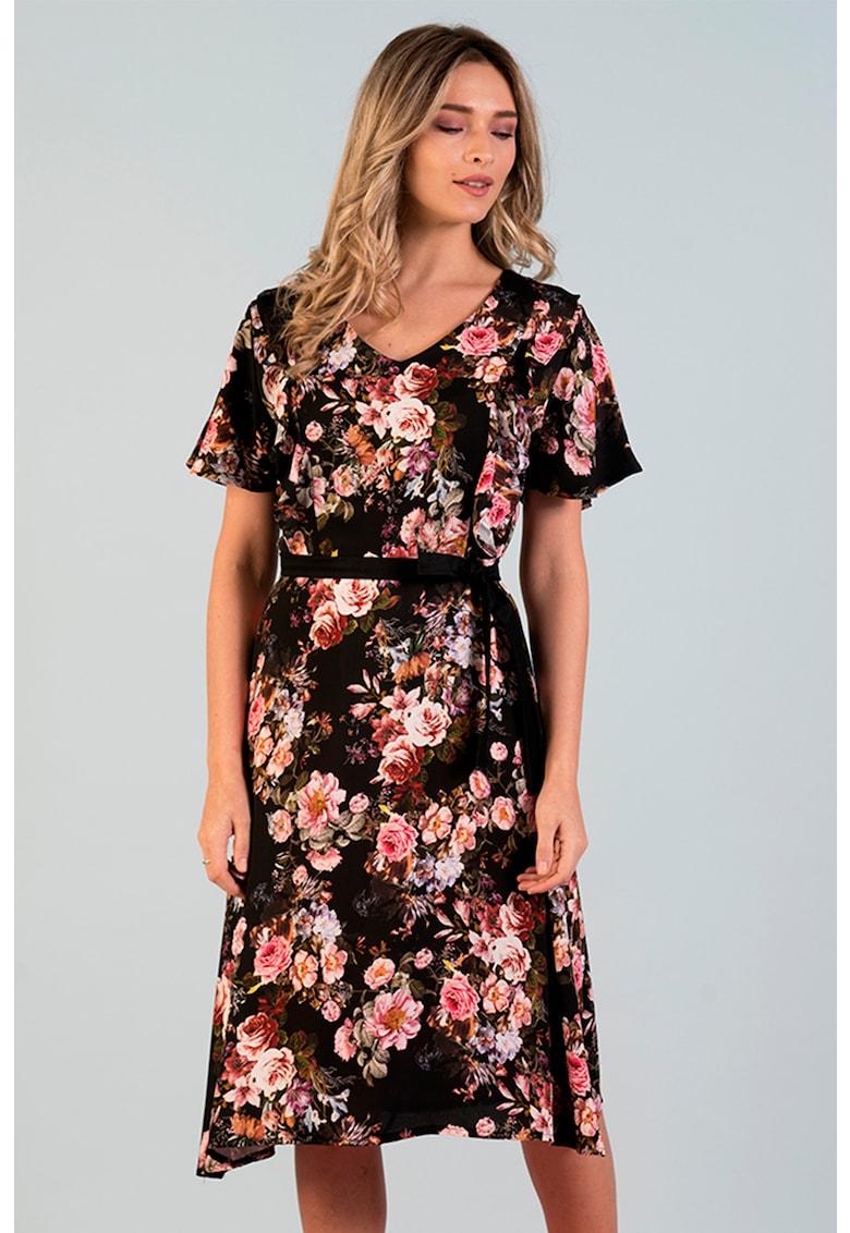 Rochie midi cu model floral si decolteu in V Format-Lady