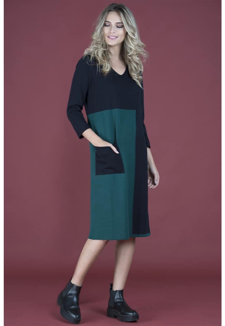 Rochie din amestec de lana - cu model colorblock Format-Lady
