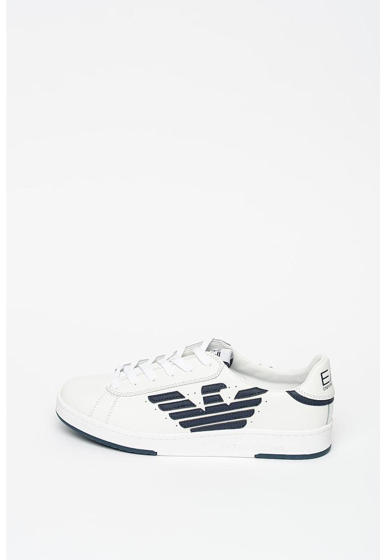 Pantofi sport unisex de piele si piele ecologica - cu logo
