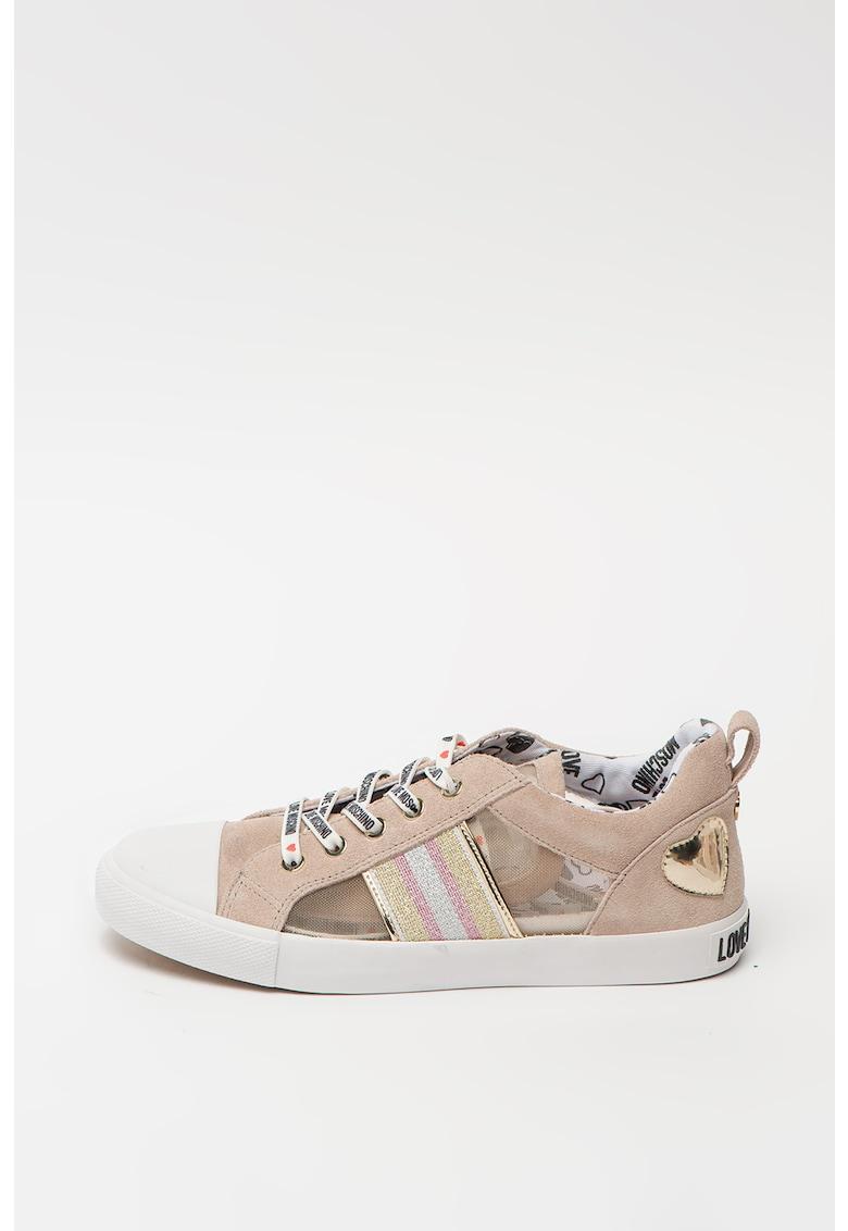 Pantofi sport din piele intoarsa cu detalii transparente