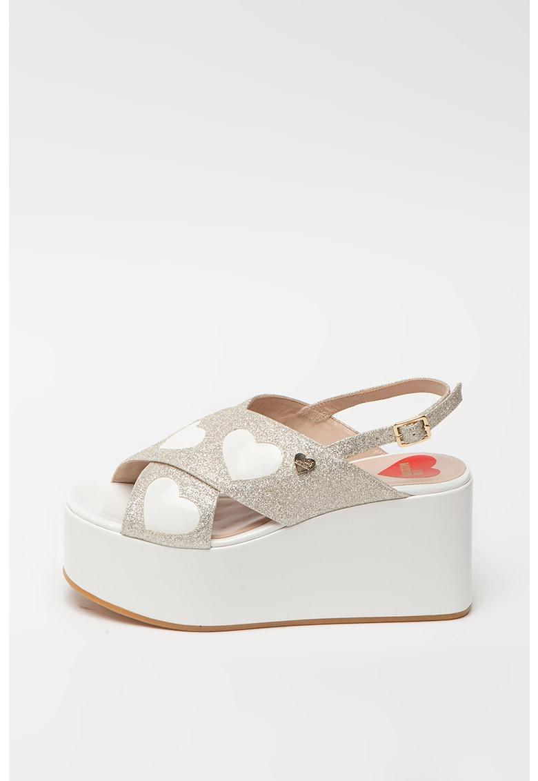 Sandale stralucitoare cu talpa wedge