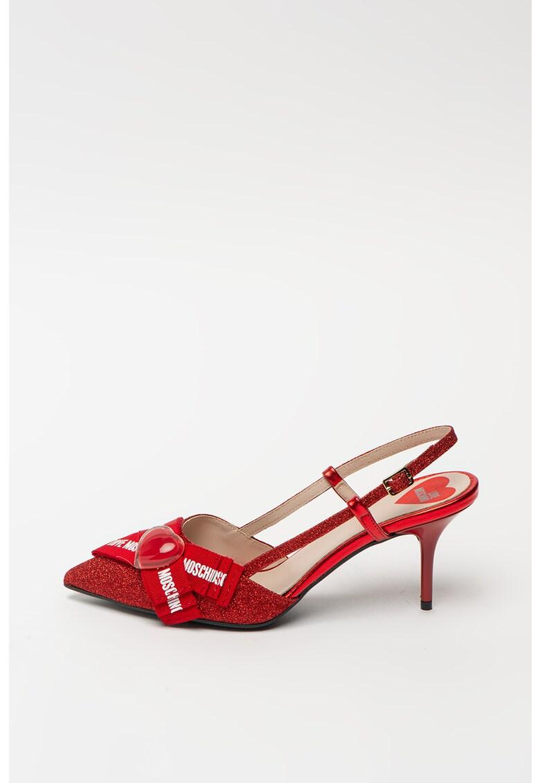 Pantofi cu bareta slingback - particule stralucitoare si funda