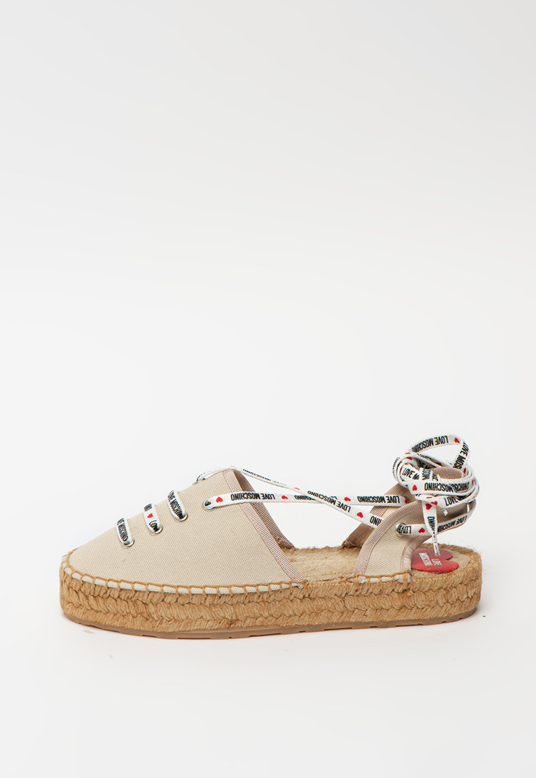 Sandale tip espadrile din panza cu snururi