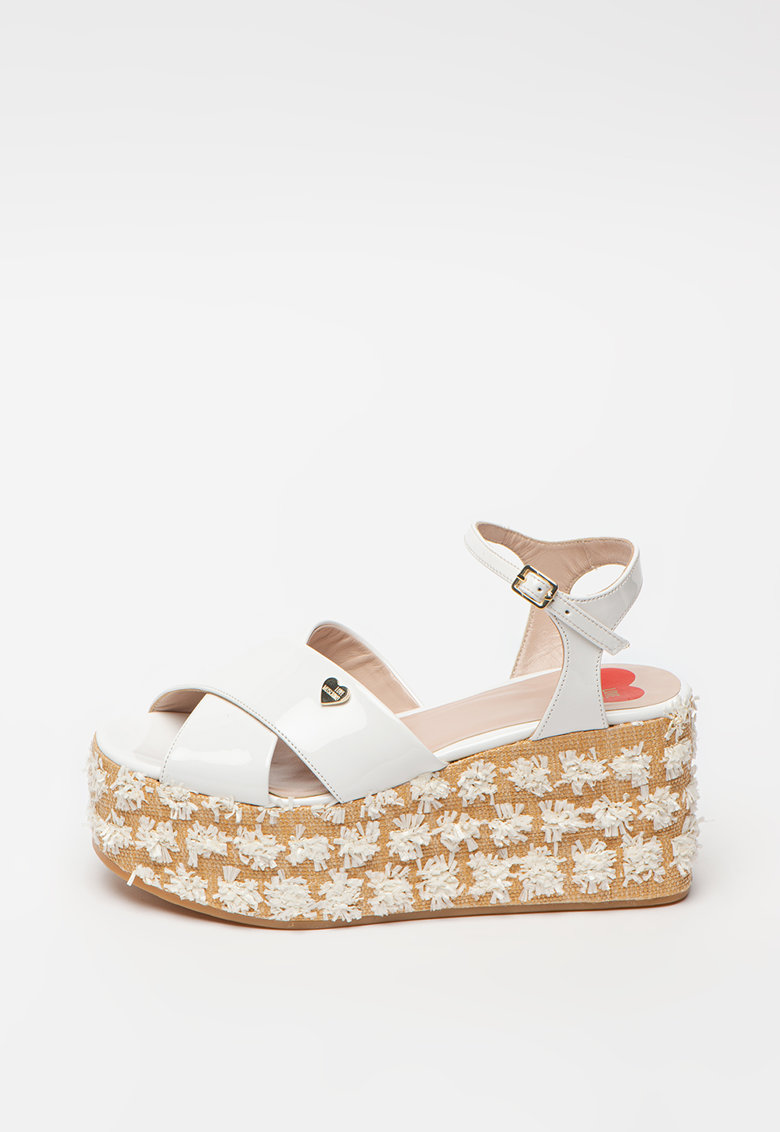 Sandale din piele ecologica cu talpa wedge si aplicatii texturate