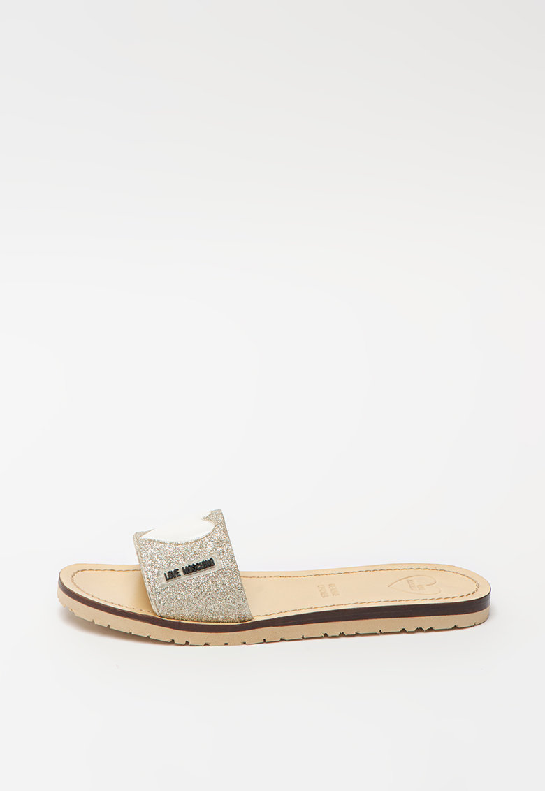 Papuci de piele ecologica - cu aspect stralucitor