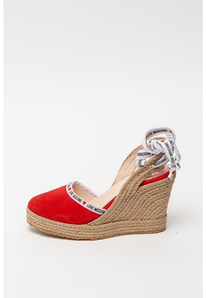 Sandale tip espadrile din piele intoarsa cu talpa wedge