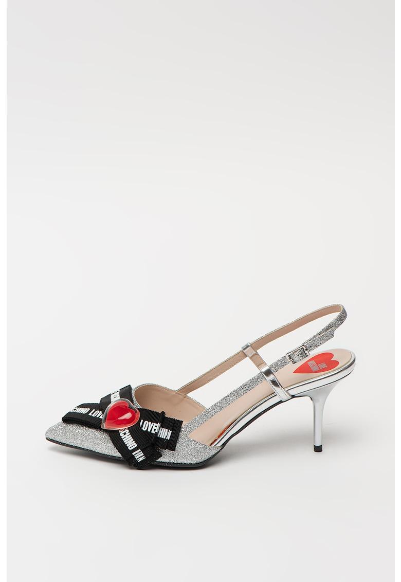 Pantofi de piele ecologica - cu bareta slingback