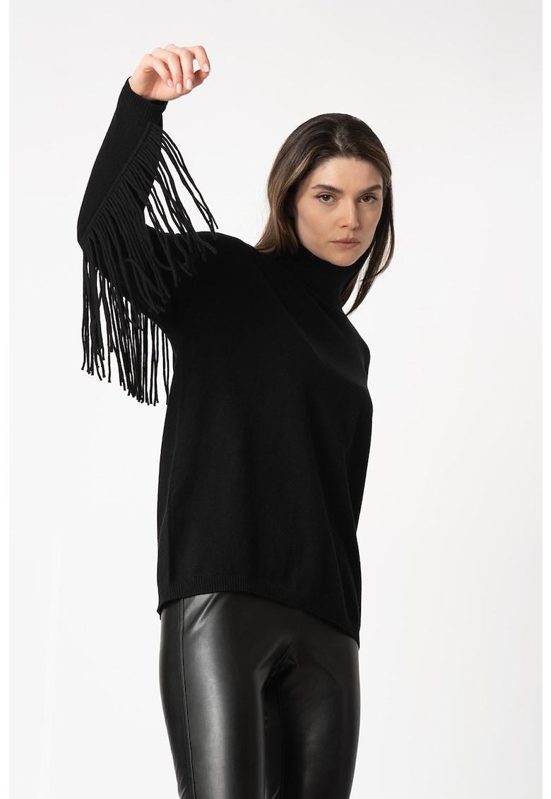 Pulover tricotat fin cu detalii franjurate imagine fashiondays.ro 2021