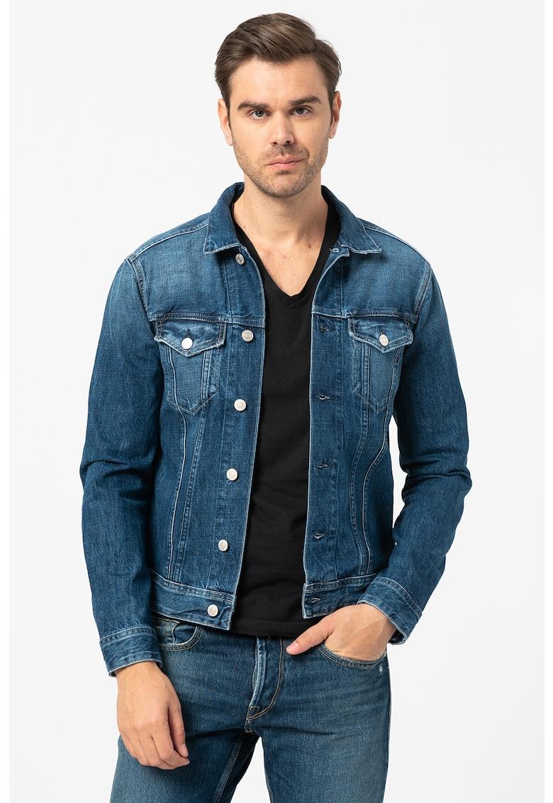 Jacheta de denim cu buzunare pe piept de la Replay