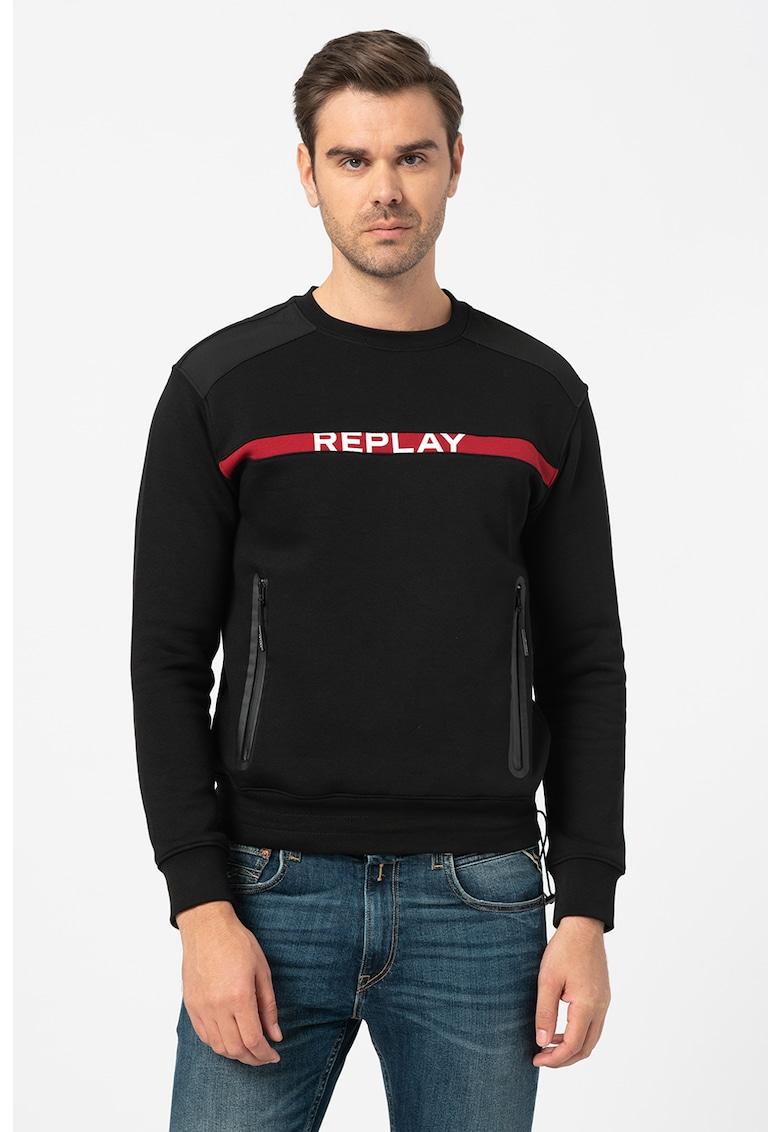 Bluza sport cu imprimeu logo si buzunare laterale cu fermoar