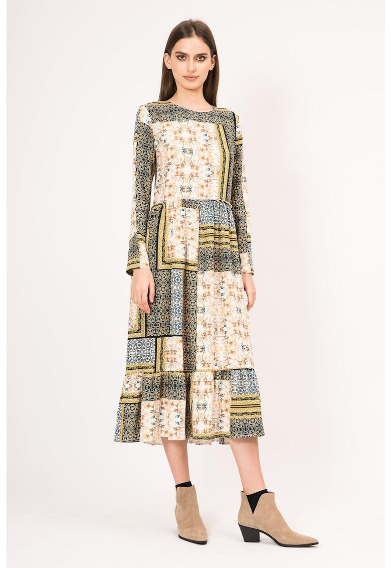 Rochie evazata din viscoza cu imprimeu variat de la BLUZAT