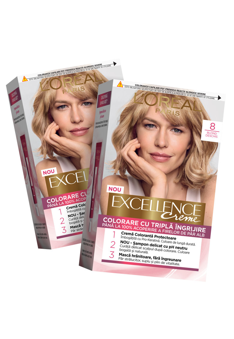 Pachet promo: 2 x Vopsea de par permanenta cu amoniac Excellence Creme 8 Blond Deschis - 192 ml imagine