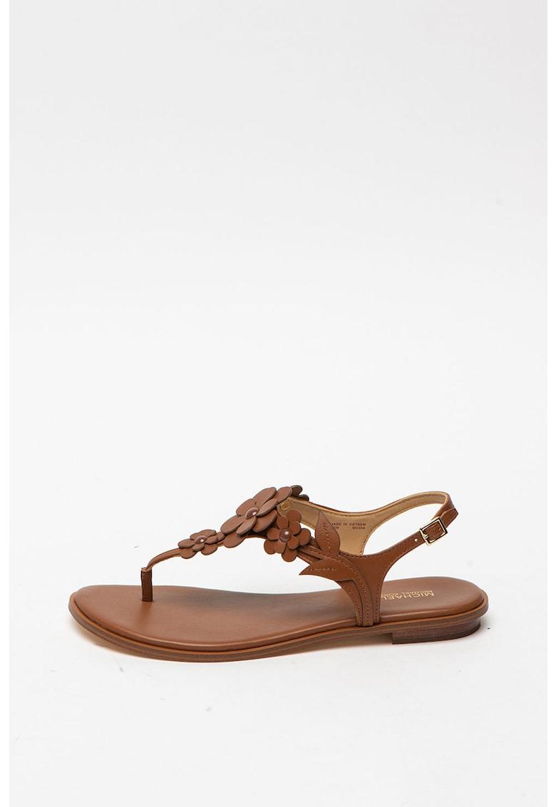 Sandale de piele - cu bareta separatoare si aplicatii decorative Flora