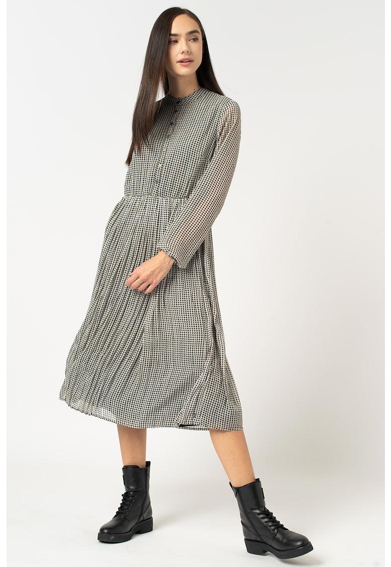 Rochie midi plisata cu imprimeu houndstooth