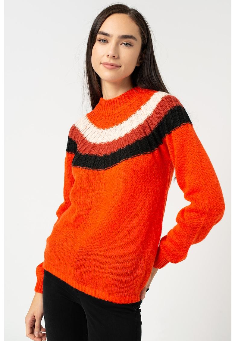 Pulover din amestec de lana cu model colorblock