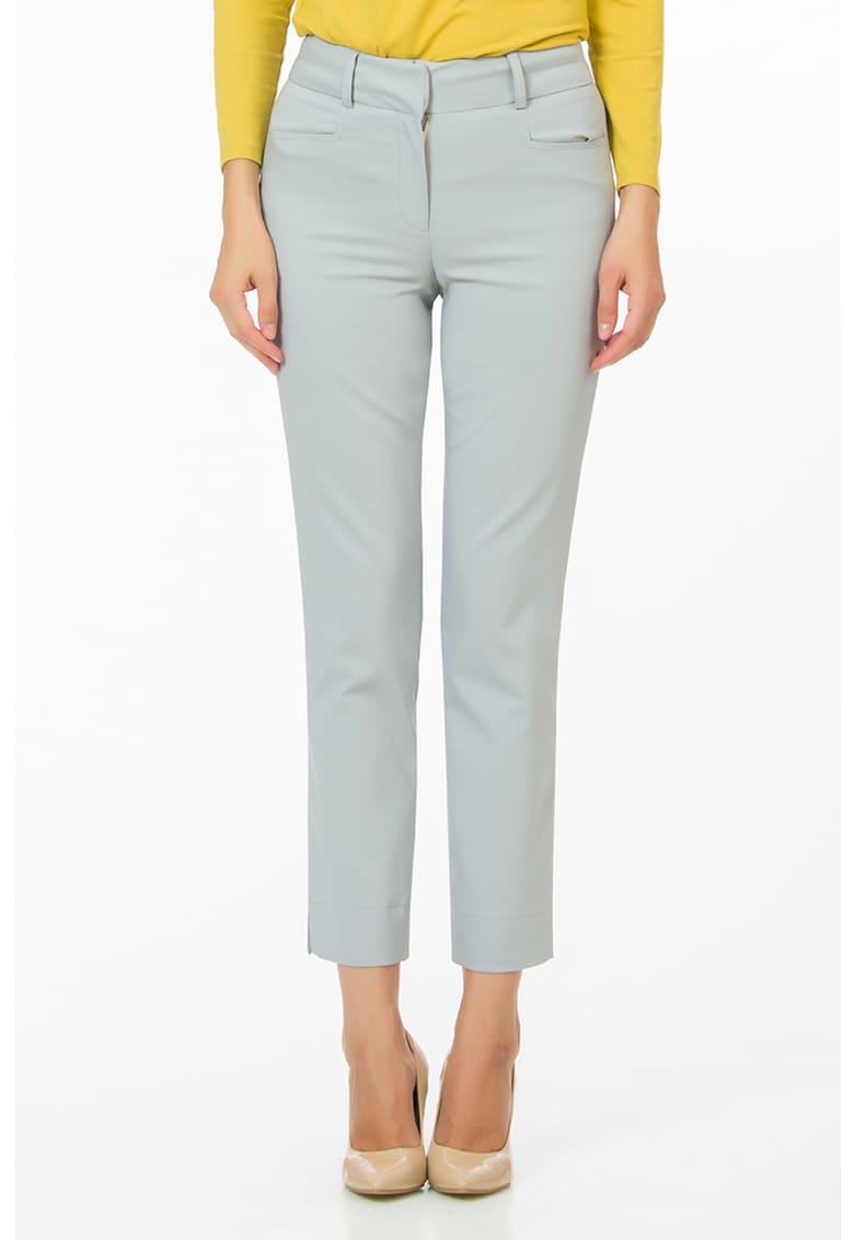 Pantaloni conici crop cu talie inalta