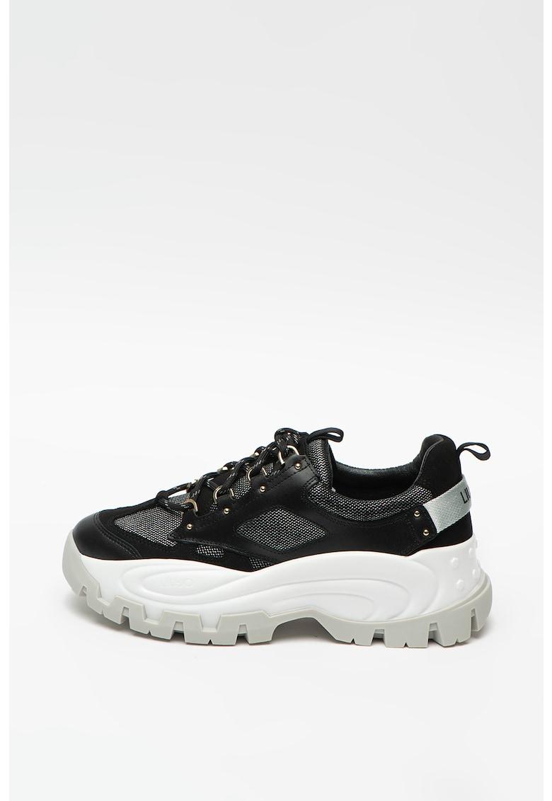 Pantofi sport cu aspect masiv si garnituri de piele si piele intoarsa Wave