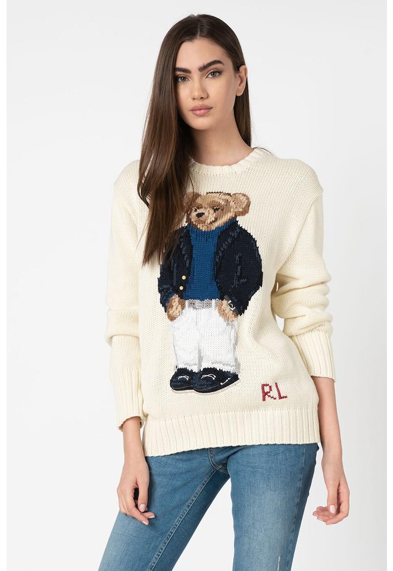 Pulover tricotat fin cu imprimeu