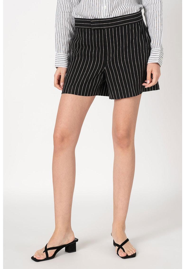 Pantaloni scurti din in cu model cu dungi discrete