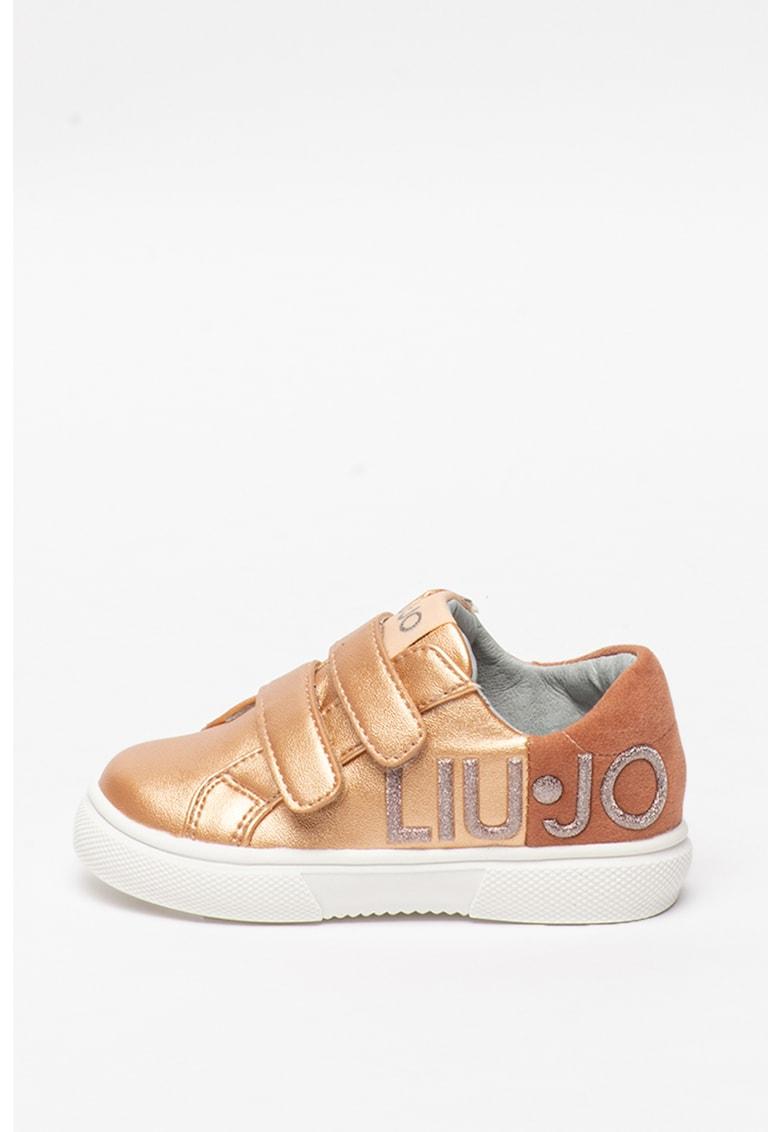 Pantofi sport de piele ecologica cu aspect metalic Sarah
