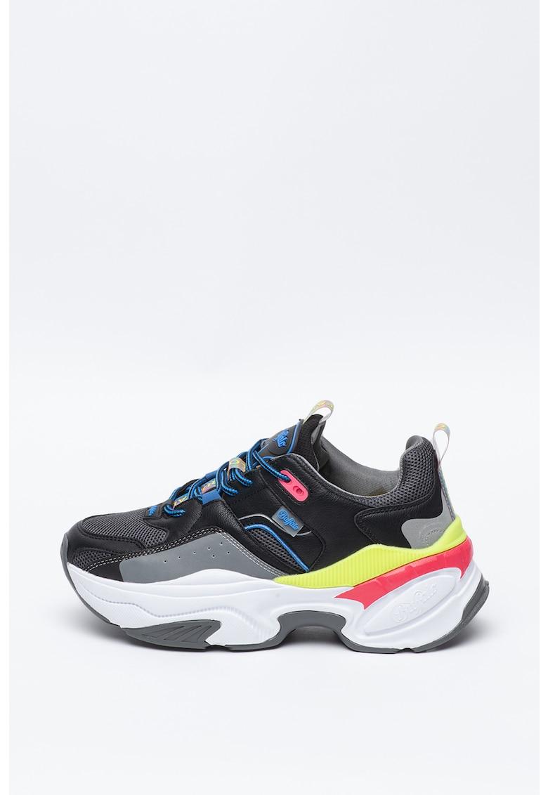 Pantofi sport de piele ecologica cu talpa masiva Crevis
