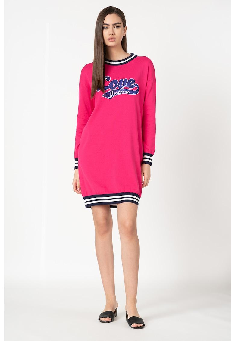 Rochie tip pulover din tricot fin cu aplicatie logo