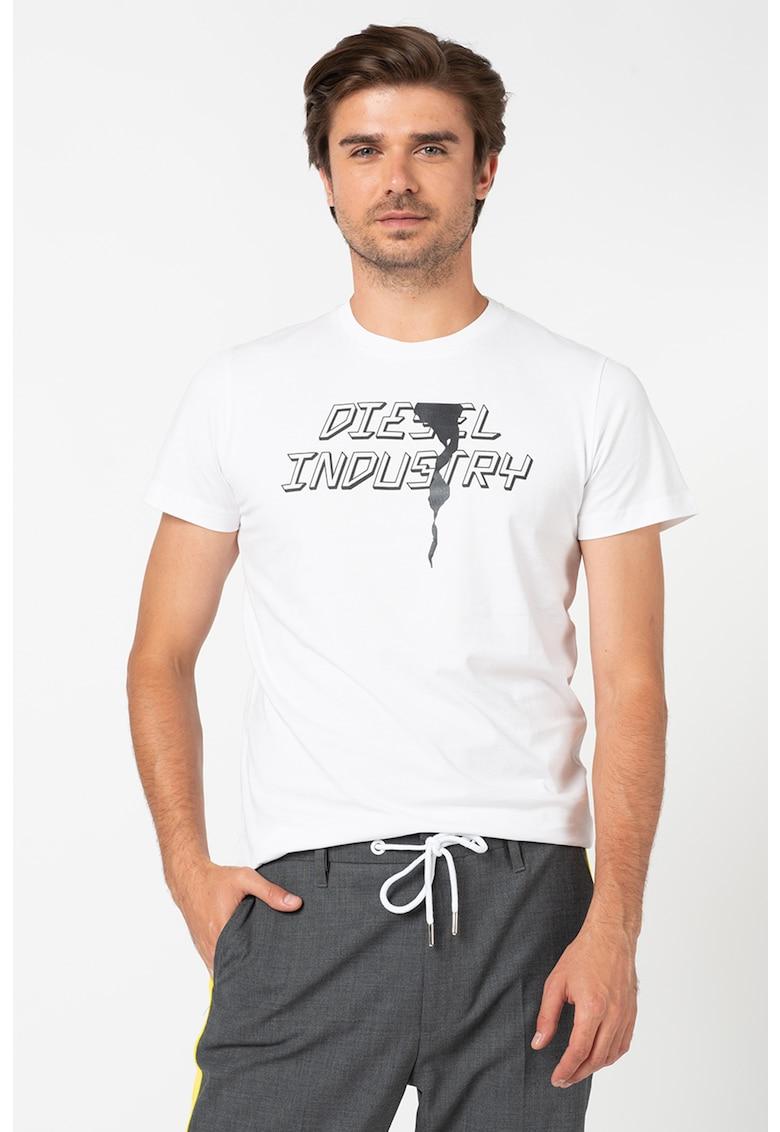 Tricou cu decolteu la baza gatului si imprimeu logo Diego e Bărbați imagine
