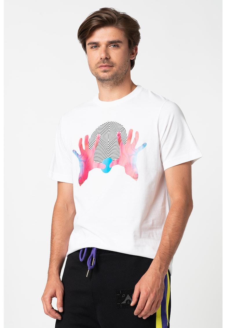Tricou cu decolteu la baza gatului si imprimeu grafic Maglietta