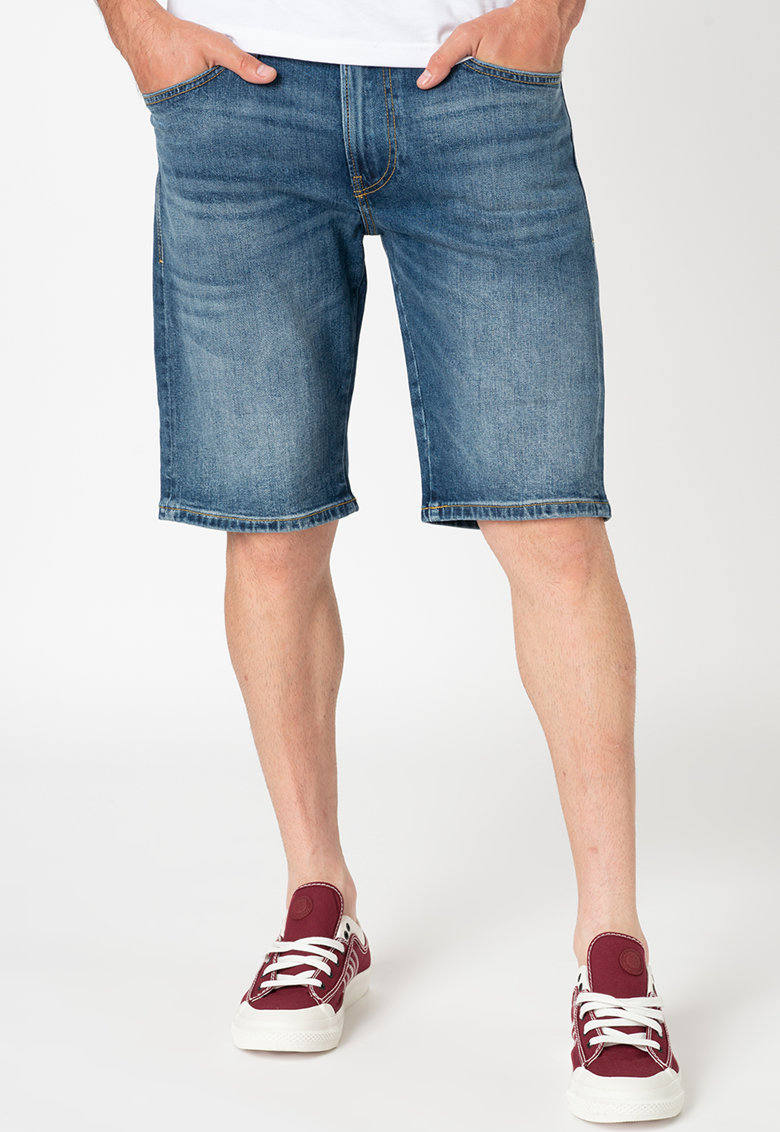 Bermude de denim cu aspect decolorat Thoshort