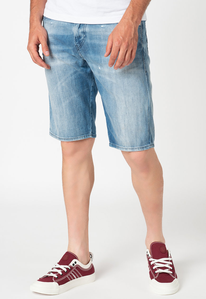 Pantaloni scurti din denim - cu aspect decolorat