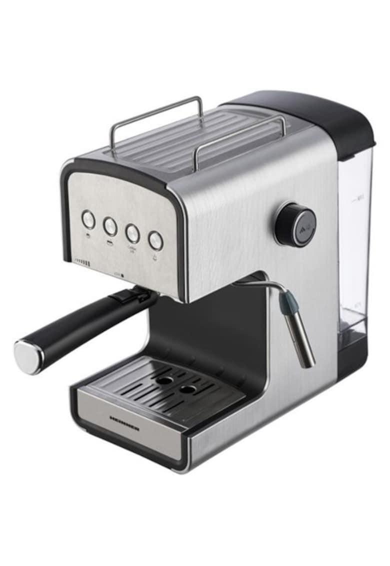Espressor semi-automat - 20 bar - 850W - rezervor apa detasabil 1.2l - optiuni presetate pentru espresso lung/scurt - filtru din inox - plita pentru mentinere cafea calda - decoratii inox