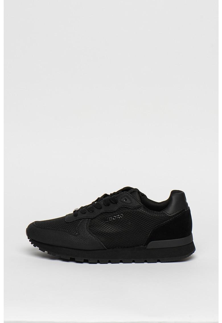 Pantofi sport din piele ecologica cu talpa joasa si strat exterior din plasa R605
