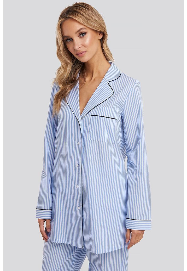 Camasa de pijama cu imprimeu cu dungi si buzunar pe piept