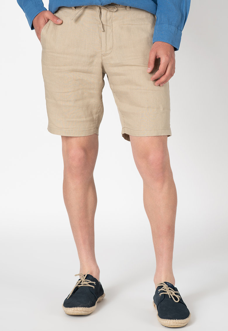 Pantaloni scurti din in cu snur de ajustare