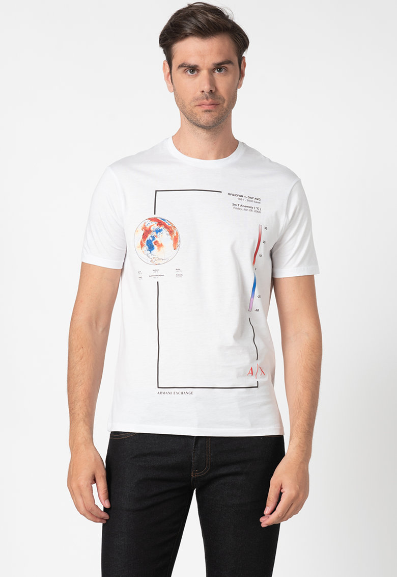 Tricou cu decolteu la baza gatului si imprimeu grafic