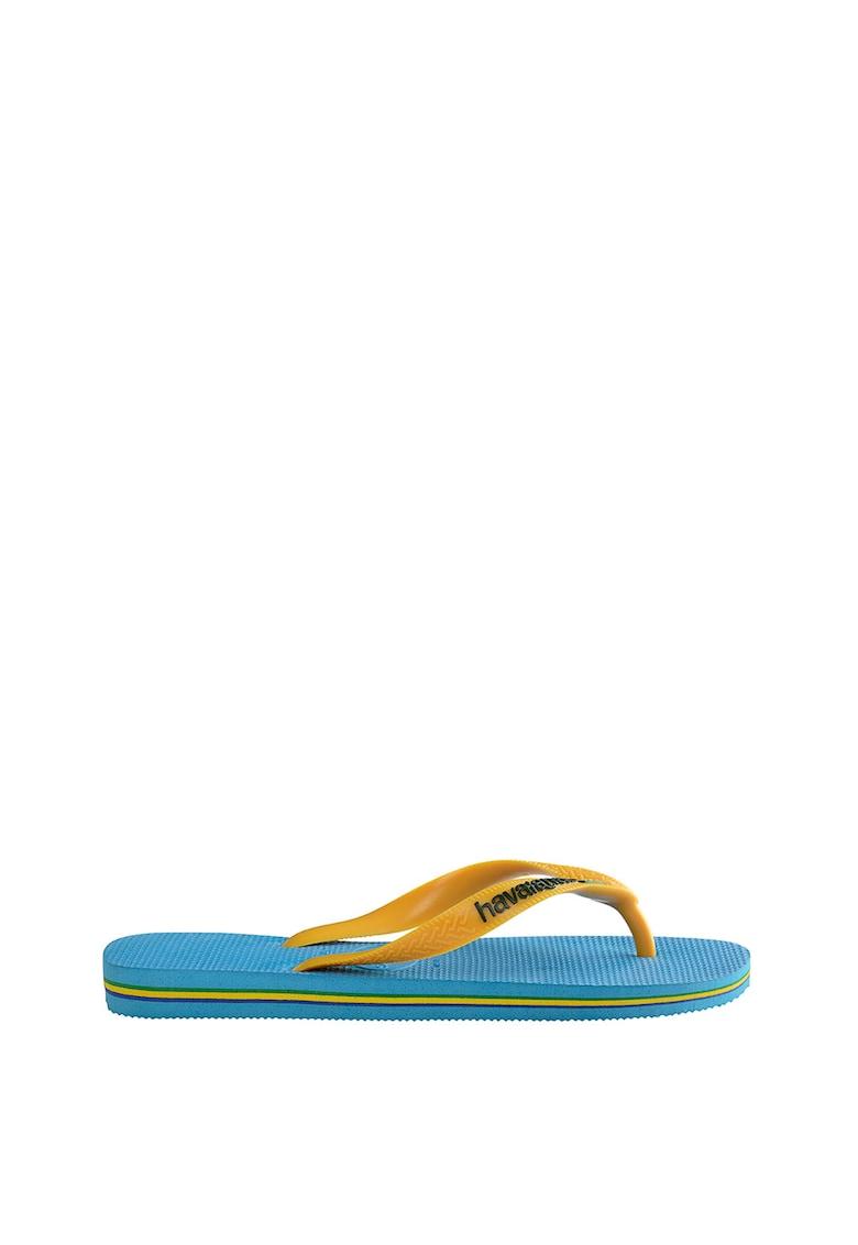Papuci flip-flop unisex cu detaliu logo Brasil