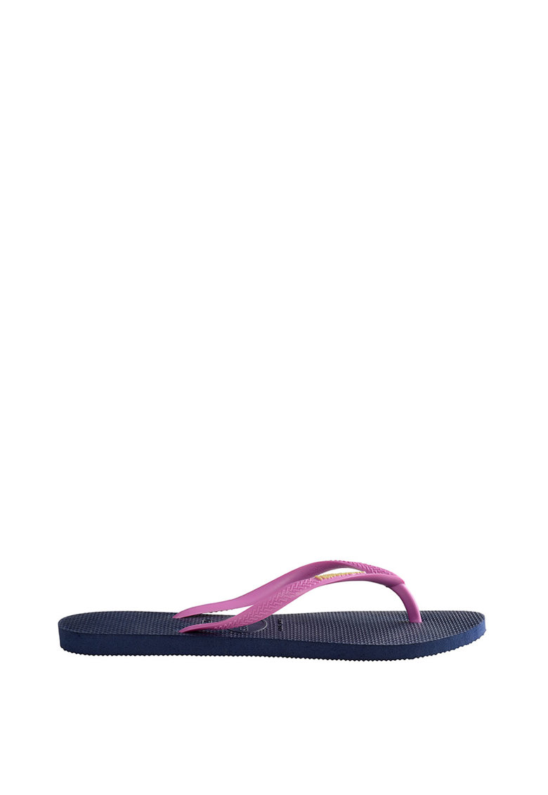 Papuci flip-flop cu logo si barete contrastante Slim