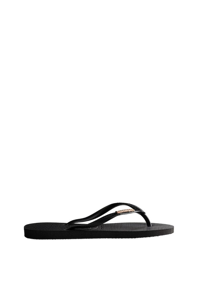 Papuci flip-flop cu logo metalic