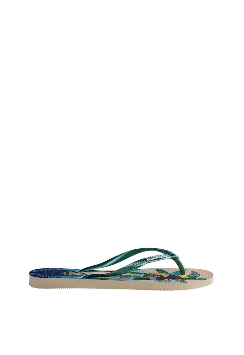 Papuci flip-flop cu model tropical si bareta texturata Slim