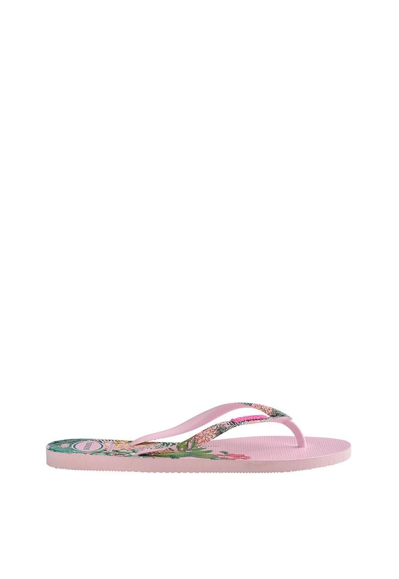 Papuci flip-flop cu imprimeu floral Slim Sensation