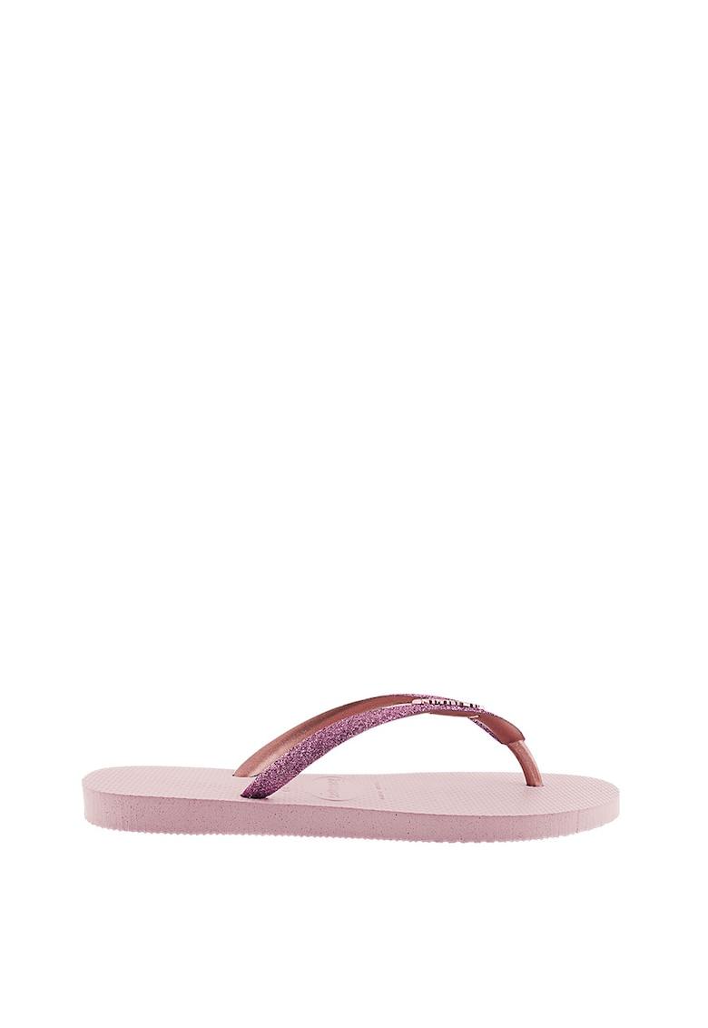 Papuci flip-flop cu detaliu logo in relief Slim Glitter