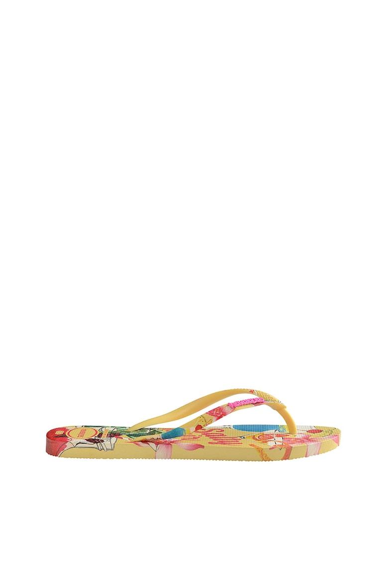 Papuci flip-flop cu imprimeu tropical Slim Summer