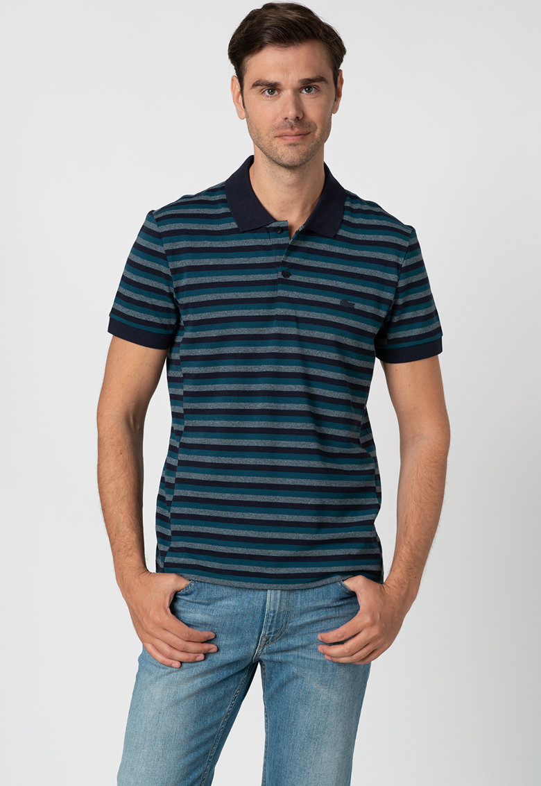 Tricou polo regular fit cu model in dungi