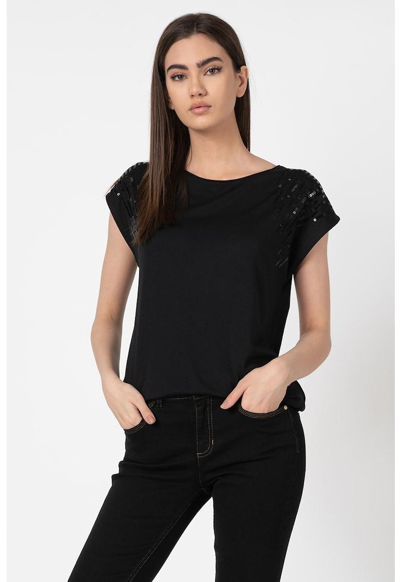 Tricou din amestec de modal cu logo din strasuri