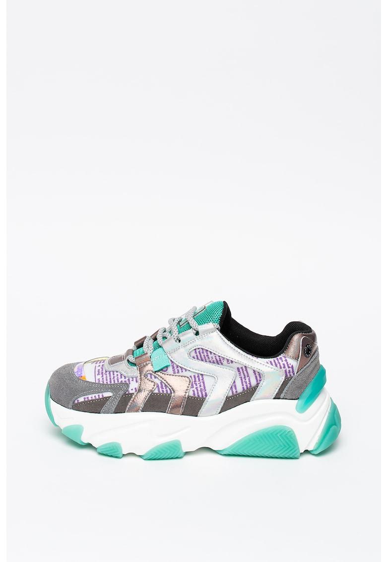 Pantofi sport de piele intoarsa - cu aspect masiv si model colorblock