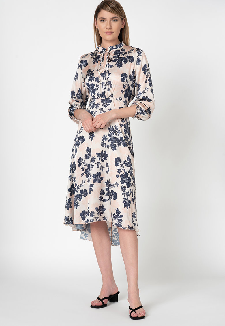 Rochie de satin cu model floral si terminatie asimetrica