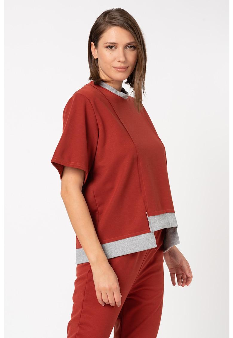 Bluza lejera cu terminatie asimetrica si maneci scurte imagine