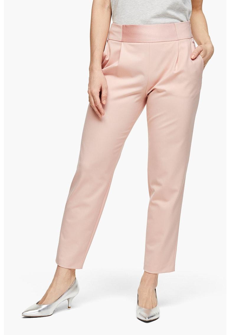 Pantaloni din satin cu pliuri frontale imagine fashiondays.ro